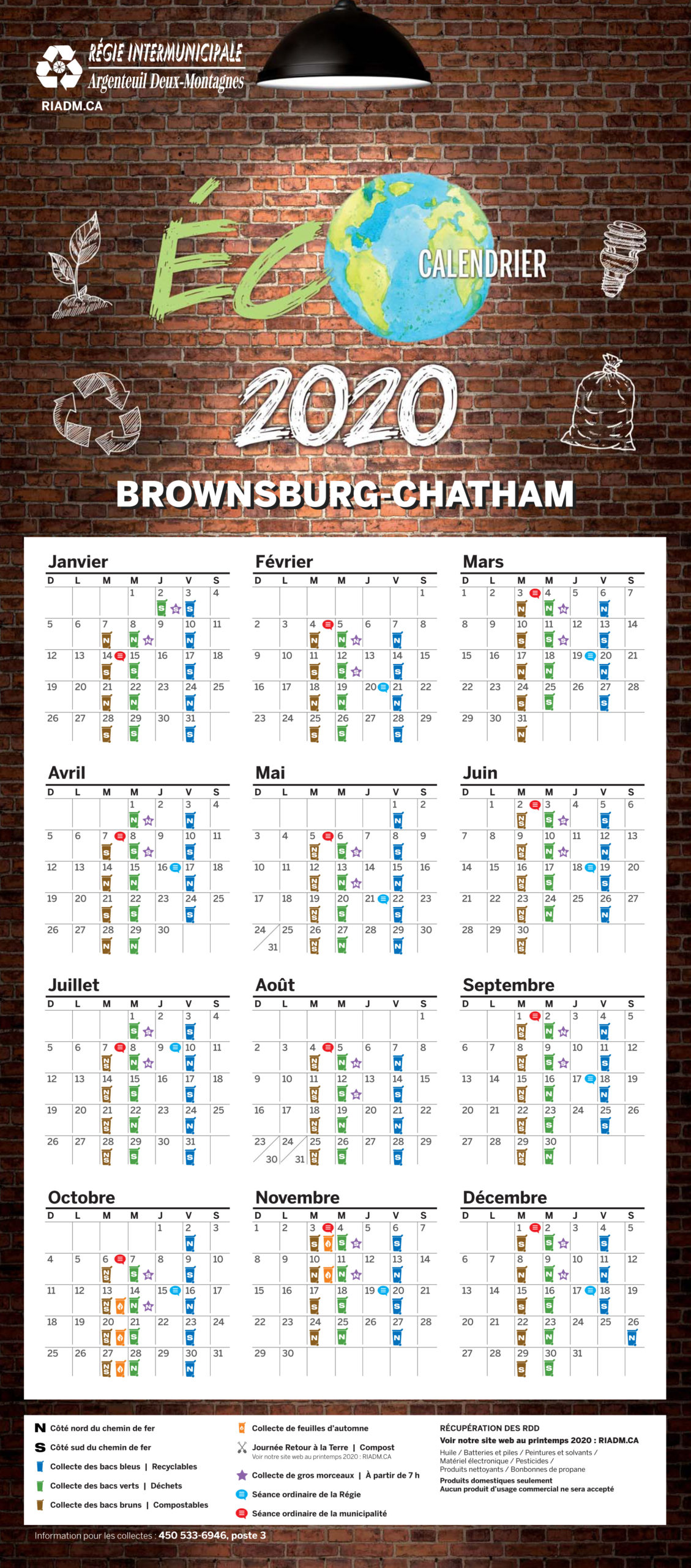Brownsburg-chatham – Ecocalendrier 2020 -fr