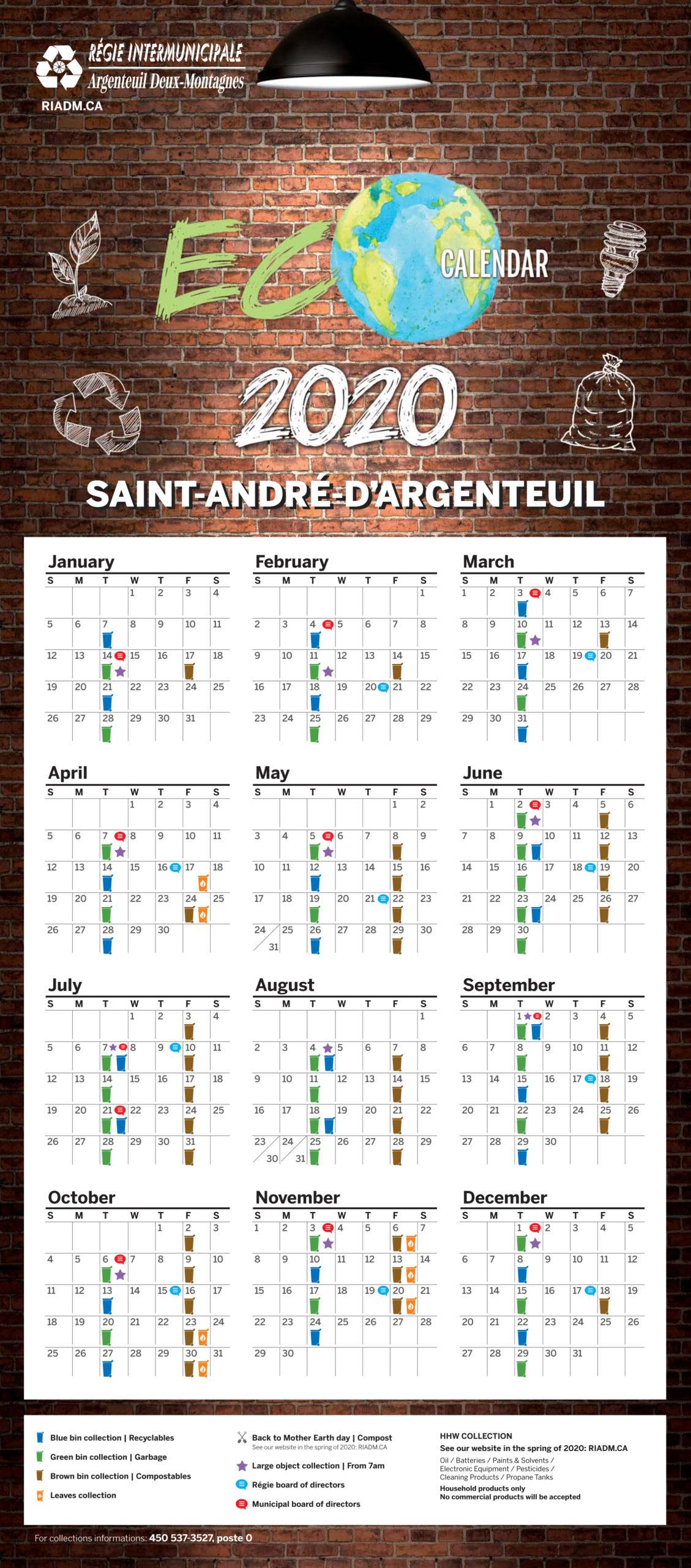 Saint-André d'Argenteuil – Ecocalendrier 2020 -en
